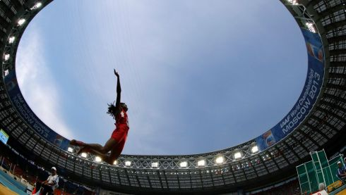 Brittney Reese of the US competes in the women's long jump final. Photograph: Dominic Ebenbichler/Reuters