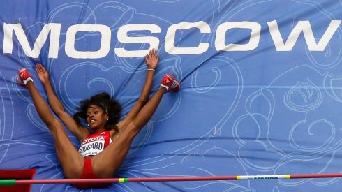 Erica Bougard of the US competes in the women's heptathlon high jump event. Photograph: Pawel Kopczynski/Reuters