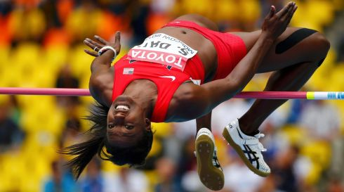 Sharon Day of the US competes in the women's heptathlon high jump.  Photograph: Kai Pfaffenbach/Reuters
