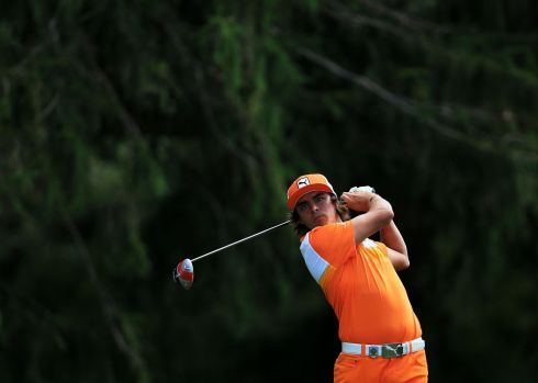 Rickie Fowler of the United States watches his tee shot on the 18th hole during the final round. Photograph: David Cannon/Getty Images