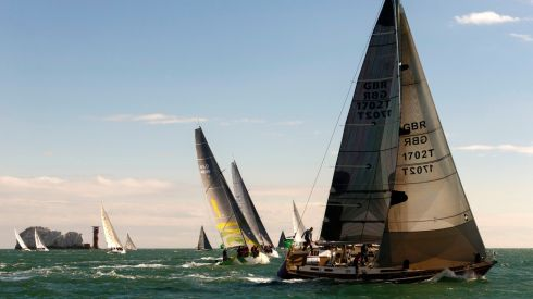 Yachts head out of the eastern Solent past The Needles during the 45th Rolex Fastnet Race on the Solent, near Cowes, Isle of Wight. Photograph: Chris Ison/PA Wire