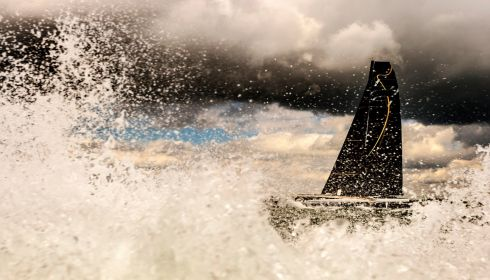 Dona Bertarelli's 140ft trimaran Spindrift 2 heads down the Solent during the 45th Rolex Fastnet Race near Cowes, Isle of Wight.  Photograp: Chris Ison/PA Wire