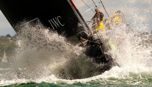 Ian Walker's Abu Dhabi yacht heads down the Solent during the 45th Rolex Fastnet Race. Photograph: Chris Ison/PA Wire