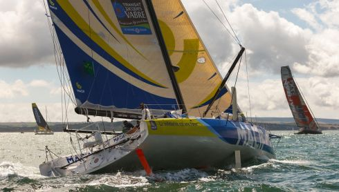 Vendee Globe winner Francois Gabart heads down the Solent. Photograph: Chris Ison/PA Wire