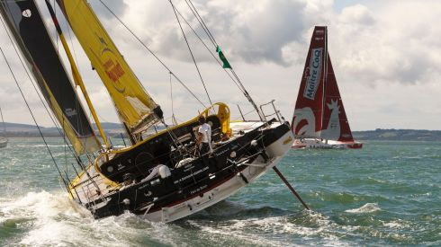 Bernard Stamm in Cheminees Poujoulat follows Jeremie Beyou in Maitre Coq down the Solent. Photograph: Chris Ison/PA Wire