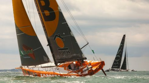 Vendee Globe winner Vincent Riou in PRB follows Alex Thomson in Hugo Boss. Photograph: Chris Ison/PA Wire
