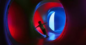 Four-year-old Ruadhan Collier explores Miracoco, a luminarium designed by Architects of Air UK as part of of the Kilkenny Arts Festival.  Photograph: Laura Hutton/Photocall Ireland