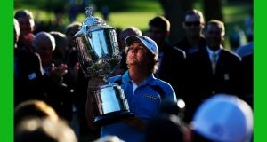 Jason Dufner with the Wanamaker Trophy after winning the US PGA Championship. Photograph: Rob Carr/Getty Images