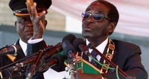 "In his first public speech since winning his seventh consecutive term in office, Zimbabwean president Robert Mugabe yesterday said those who were against him could ""go hang"". Photograph: Reuters/Philimon Bulawayo"
