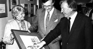 Taoiseach Charles Haughey, right, with artist Pat Liddy  and US ambassador Margaret Heckler in 1988. Photograph: Matt Kavanagh/The Irish Times