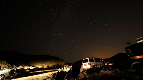 Crowds of stargazers come out to watch the Perseid meteor shower north of Castaic Lake, California. Photograph: Gene Blevins/Reuters