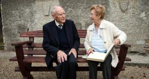 Former taoiseach Liam Cosgrave with Nuala  Jordan, whose grandfather Timothy Harrington MP was mayor of Dublin from 1901 to 1903, at the Parnell Summer School today in Avondale house, Co Wicklow. Photograph: Garry O'Neill
