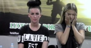 A screen shot of Michaella McCollum Connolly (20) and British teenager Melissa Reid being questioned Lima Airport after the  discovery of more than 11.5kg of cocaine in their luggage. Photograph: Reuters