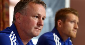 Northern Ireland manager Michael O'Neill and captain Steven Davis face the media before the Russia game. Photograph: William Cherry/Inpho
