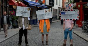 Members of Just the Lads in Temple Bar to announce the start of the Dublin Fringe Festival which runs from Septrember 5th to 22nd. Photograph: Cyril Byrne