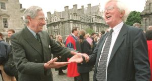The late Dr Francis J O'Reilly (left) with archaeologist Peter Harbison in TCD in 1999. Photograph: Bryan O'Brien