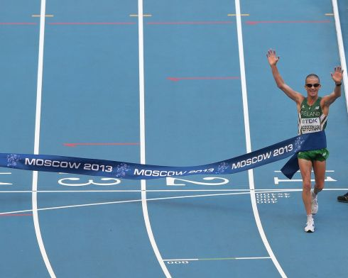 Robert Heffernan crosses the line to win gold in the Men's 50km race walk final. Photograph: Jamie Squire/Getty Images