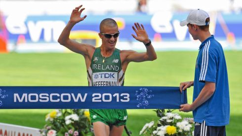 Robert Heffernan crosses the finish line. Photograph: James Veale/Sportsfile