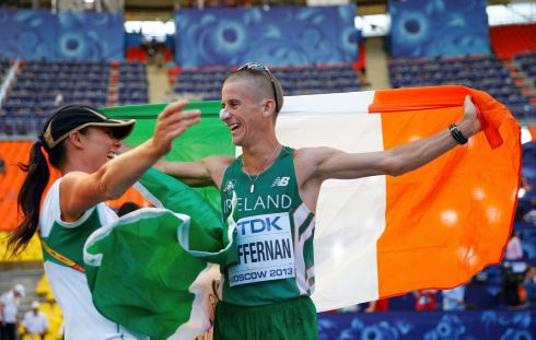 Heffernan celebrates with his wife Marian. Photograph: Kai Pfaffenbach/Reuters