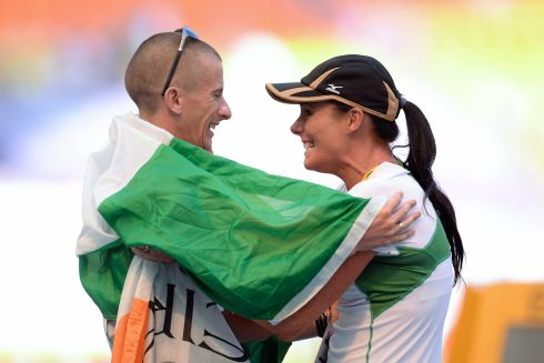 Robert Heffernan celebrates with his wife Marian after winning the men's 50k walk in a time of 3:37.56 at the IAAF World Athletics Championships.  Photograph: Stephen McCarthy/Sportsfile