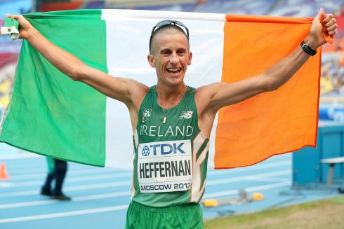 Rob Heffernan celebrates winning gold. Photograph: Inpho/Ian MacNicol