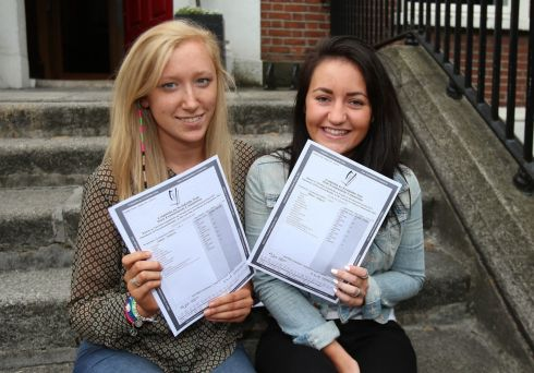 Sinead Brennan (left) and Lee Anne Keogh celebrate the results of their Leaving Certificate exams at Loreto College in Dublin. Photograph: Niall Carson/PA Wire
