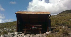 Lough Avoher hut for hikers overnighting  in the Nephin Beg mountains