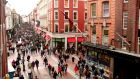 Shoppers on Dublin's Grafton Street. Consumer confidence improved by five points in the first half of 2013 compared with the same period last year.