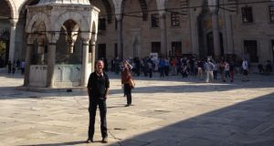 Journey's End Michael Guilfoyle at the Blue Mosque in Istanbul after his epic cycle