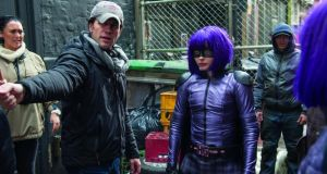 Chloë Grace Moretz with director Jeff Wadlow on the set of Kick-Ass 2