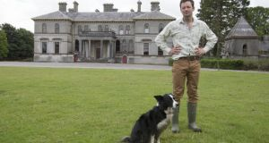 Thomas Cosby at Stradbally Hall, Co Laois with his dog Penny. Photograph: Alf Harvey/hrphoto.ie