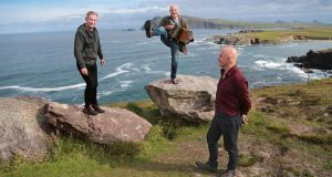 Musician and film-maker Philip King, trad musician Breanndán Ó Beaglaoich and Conor Pope at Ceann Sibéal on the Dingle peninsula, Co Kerry. Photograph: Valerie O'Sullivan