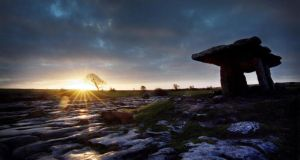 The Poulnabrone dolmen in the Burren, Co Clare, a kilometre from Caherconnell where the remains were found. Photograph: Dara Mac Dónaill