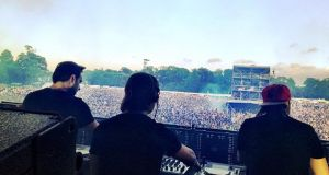 A photograph posted to Intsagram by Steve Angello from  Swedish House Mafia of  the band's Phoenix Park concert.