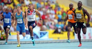 Adam Gemili of Great Britain (centre) competes in the Men's 200 metres semi-finals at the IAAF World Athletics Championships in  Moscow. Photograph: Julian Finney/Getty Images