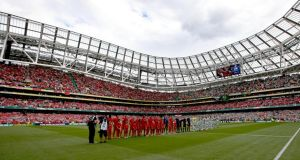 Liverpool and Celtic in the Dublin Decider which filled the  Aviva Stadium in  Dublin. Photograph: Ryan Byrne/Inpho