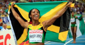Shelly-Ann Fraser-Pryce of Jamaica celebrates winning gold in the Women's 200 metres final in Moscow. Photograph: Jamie Squire/Getty Images