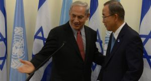 Israeli Prime Minister Binyamin Netanyahu (left) meets UN secretary general Ban Ki-Moon in Jerusalem yesterday. Photograph: Amos Ben Gershom/GPO via Getty Images