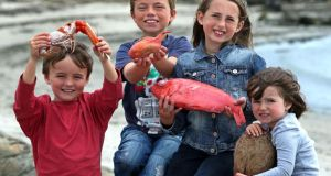 Max Foreman (8) with the 15 inch prawn and his cousins Luca Ristori who is holding a toad fish, Eabha Ristori (10) with the Alphonsino Beryx Splendens deep water fish and Ellie Ristori (3) who is holding one of the coconuts found at sea. Photograph: Joe O'Shaughnessy.