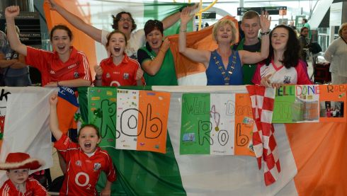 Fans from West Muskerry Athletics Club Cork at Dublin Airport. Photograph: Frank Miller/The Irish Times