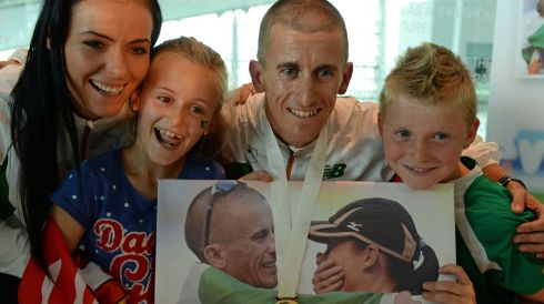 Rob Heffernan with his wife Marian and children Meghan (8) and Cathal (6).  Photograph: Frank Miller/The Irish Times