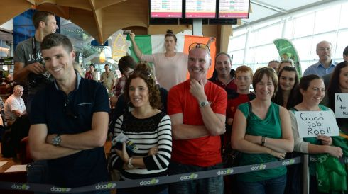 Some of the crowd at Dublin Airport. Photograph: Frank Miller/The Irish Times