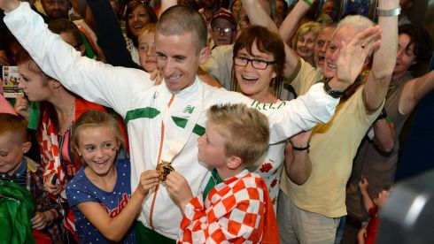 Rob Heffernan with his children Meghan (8) and Cathal (6). Photograph: Frank Miller/The Irish Times