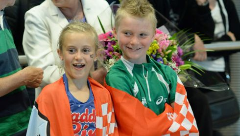 Rob Heffernan's proud children Meghan (8) and Cathal (6). Photograph: Frank Miller/The Irish Times