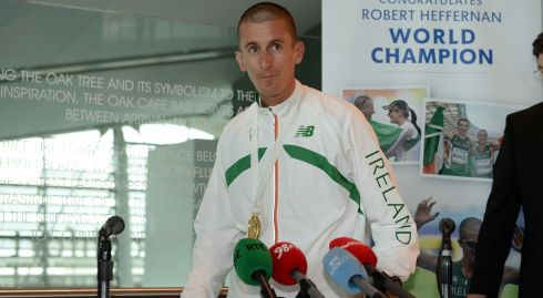 Rob Heffernan arives home to a heroes welcome. Photograph: Frank Miller/The Irish Times