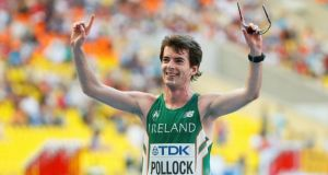 Paul Pollock of Ireland after he finished the men's marathon at the IAAF World Athletics Championships at the Luzhniki Stadium in Moscow. Photograph: Lucy Nicholson/Reuters