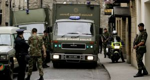 File photograph of the Army Bomb Disposal Team arriving at the back door of the Mansion House in Dublin to deal with a bomb scare. Photograph: David Sleator/The Irish Times