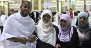 Family handout photograph of (left to right) Ibrihim Halawa with his sisters Fatima, Omaima and Somaia, who were among hundreds of people forced to leave the Al Fateh mosque in Cairo by Egyptian security forces.