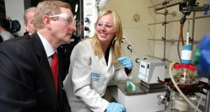 Taoiseach Enda Kenny and science student Barbara Wood at the UCD Centre for Molecular Innovation and Drug Discovery in Belfield, Dublin. Photograph : Matt Kavanagh