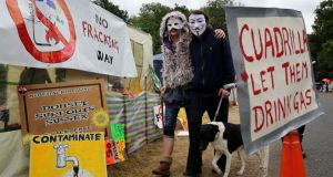 Environmental activists arrive in English village of Balcombe, West Sussex, on Saturday for the Reclaim the Power Action Camp, as anti-fracking demonstrations continue at the Cuadrilla exploratory drilling site there. Photograph: Gareth Fuller/PA Wire